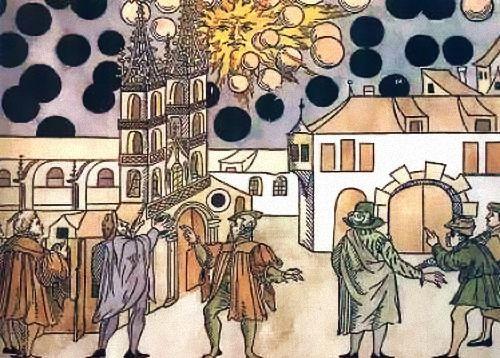 BaselWoodcutting, UFO τον μεσαίωνα, UFO, σε ξυλόγλυπτα και πίνακες ζωγραφικής,