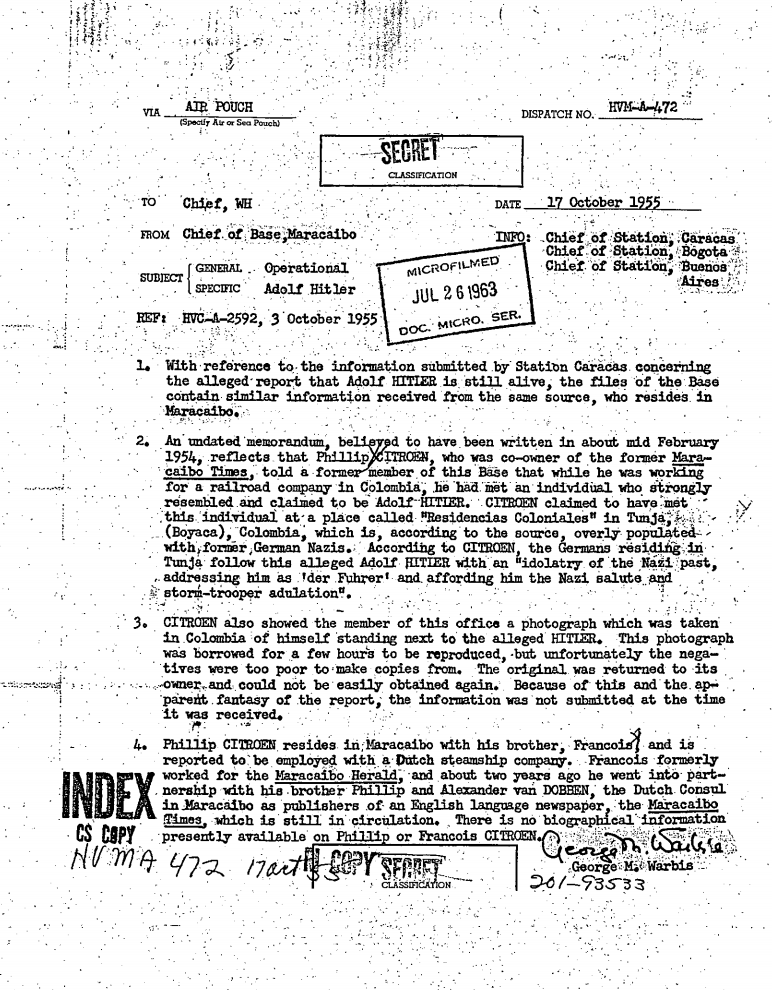 CIA: Ο Χίτλερ μπορεί να έζησε στην Κολομβία μετά το Β' Παγκόσμιο Πόλεμο